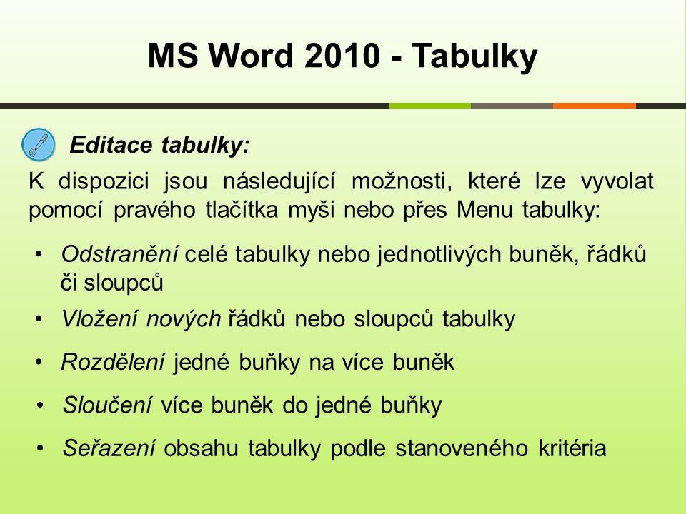 MS Word 2010 - Tabulky Editace tabulky: K dispozici jsou následující možnosti, které lze vyvolat pomocí pravého tlačítka myši nebo přes Menu tabulky: Odstranění celé tabulky nebo jednotlivých buněk, řádků či sloupců Vložení nových řádků nebo sloupců tabulky Rozdělení jedné buňky na více buněk Sloučení více buněk do jedné buňky Seřazení obsahu tabulky podle stanoveného kritéria