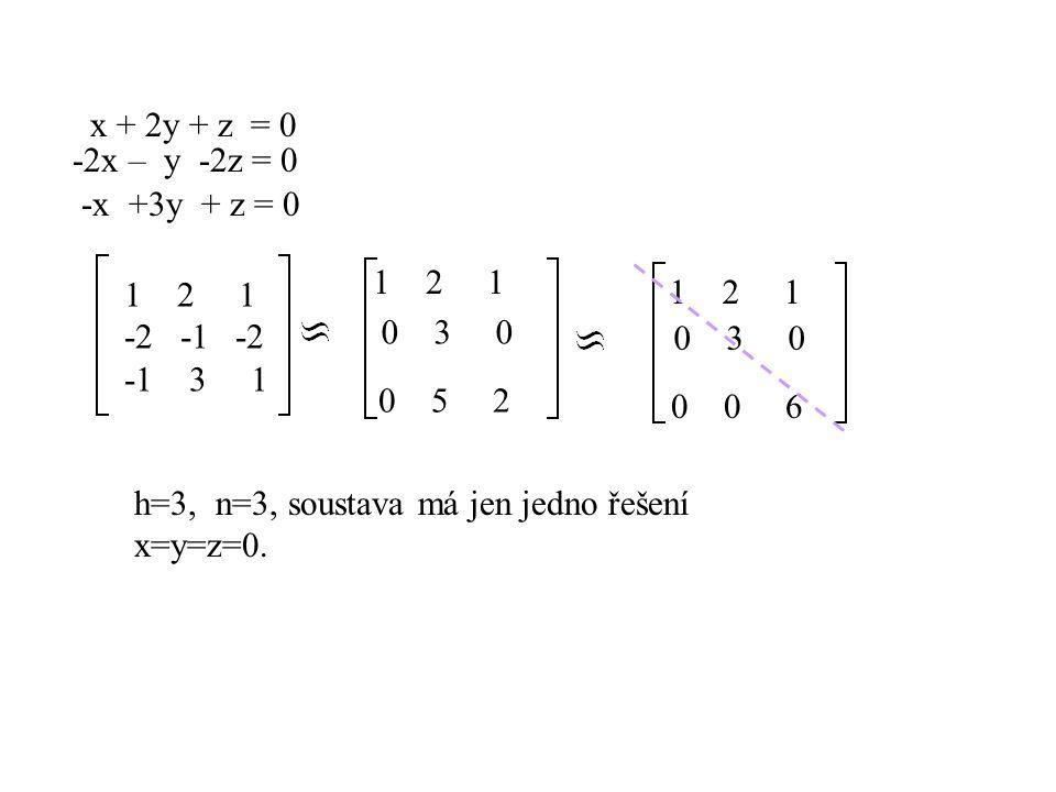x + 2y + z = 0 -2x – y -2z = 0 -x +3y + z = 0 12 1 -2 -1 -2 -1 3 1 1 2 1 0 3 0 0 5 2 1 2 1 0 3 0 0 0 6 h=3, n=3, soustava má jen jedno řešení x=y=z=0.