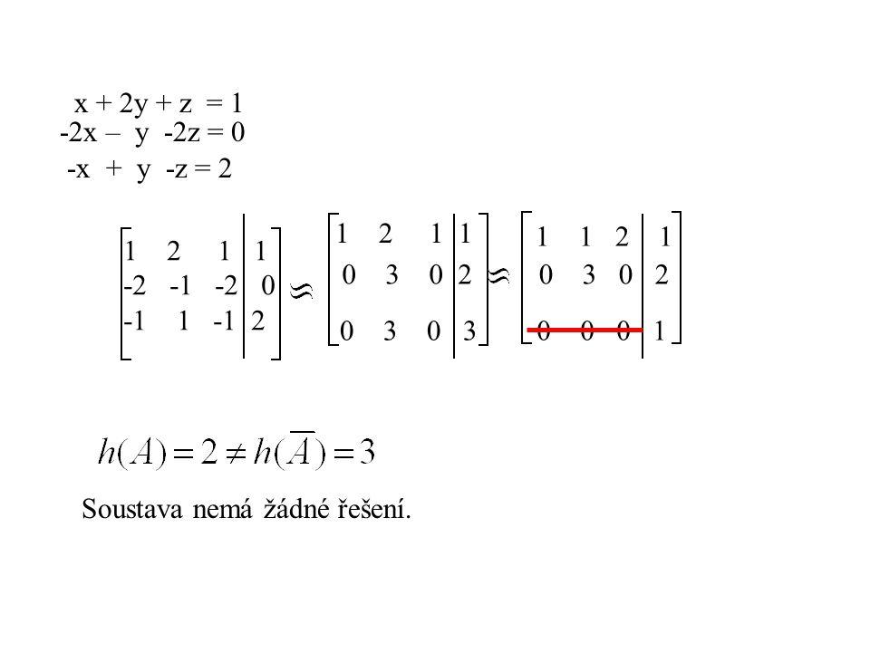 x + 2y + z = 1 -2x – y -2z = 0 -x + y -z = 2 12 1 1 -2 -1 -2 0 -1 1 -1 2 1 2 1 1 0 3 0 2 0 3 1 1 2 1 0 3 0 2 0 0 0 1 Soustava nemá žádné řešení.