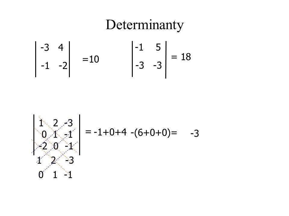 Determinanty -3 4 -1 -2 =10 -1 5 -3 = 18 = 12 -3 0 1 -1 -2 0 -1 1 2 -3 0 1 -1 -1+0+4 -3 -(6+0+0)=