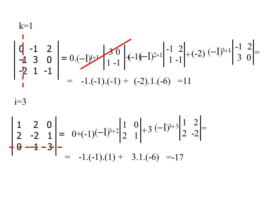 3 0 1 -1 + = 0 -1 2 -1 3 0 -2 1 -1 k=1 0.