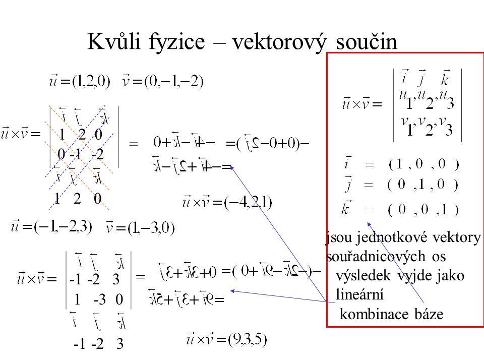 Kvůli fyzice – vektorový součin 1 2 0 0 -1 -2 1 2 0 = -1 -2 3 1 -3 0 = -1 -2 3 jsou jednotkové vektory souřadnicových os výsledek vyjde jako lineární kombinace báze