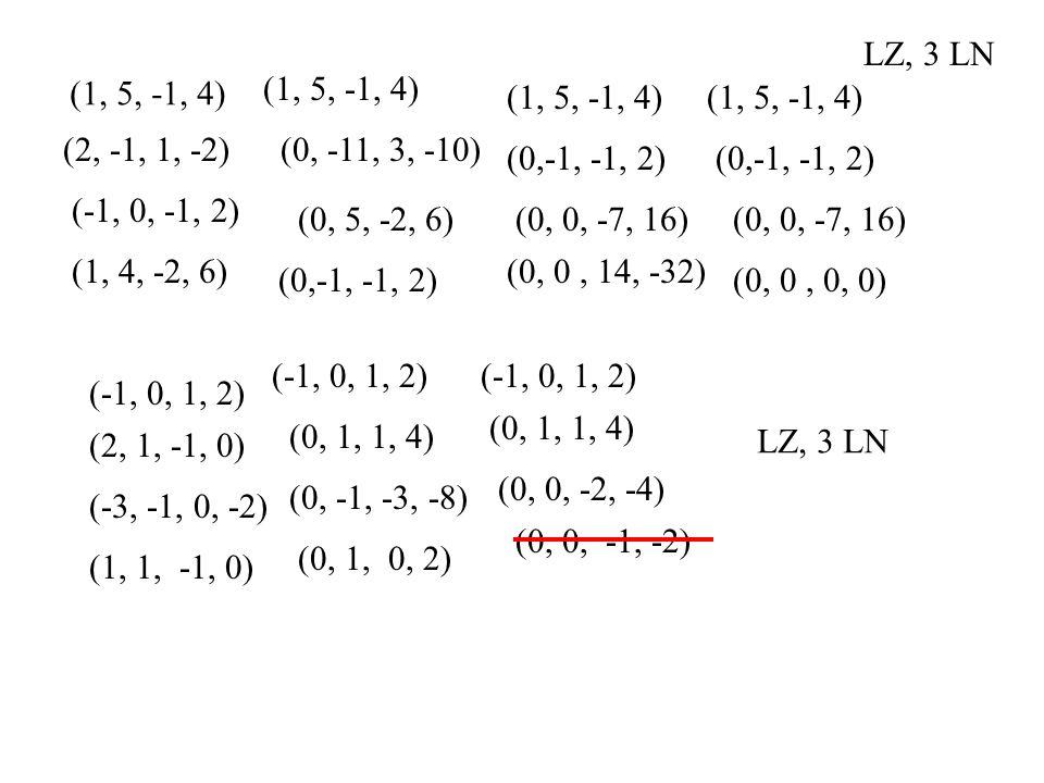 (1, 5, -1, 4) (2, -1, 1, -2) (-1, 0, -1, 2) (1, 4, -2, 6) (-1, 0, 1, 2) (2, 1, -1, 0) (-3, -1, 0, -2) (1, 1, -1, 0) (1, 5, -1, 4) (0, -11, 3, -10) (0, 5, -2, 6) (0,-1, -1, 2) (1, 5, -1, 4) (0,-1, -1, 2) (0, 0, -7, 16) (0, 0, 14, -32) (1, 5, -1, 4) (0,-1, -1, 2) (0, 0, -7, 16) (0, 0, 0, 0) (-1, 0, 1, 2) (0, 1, 1, 4) (0, -1, -3, -8) (0, 1, 0, 2) (-1, 0, 1, 2) (0, 1, 1, 4) (0, 0, -2, -4) (0, 0, -1, -2) LZ, 3 LN