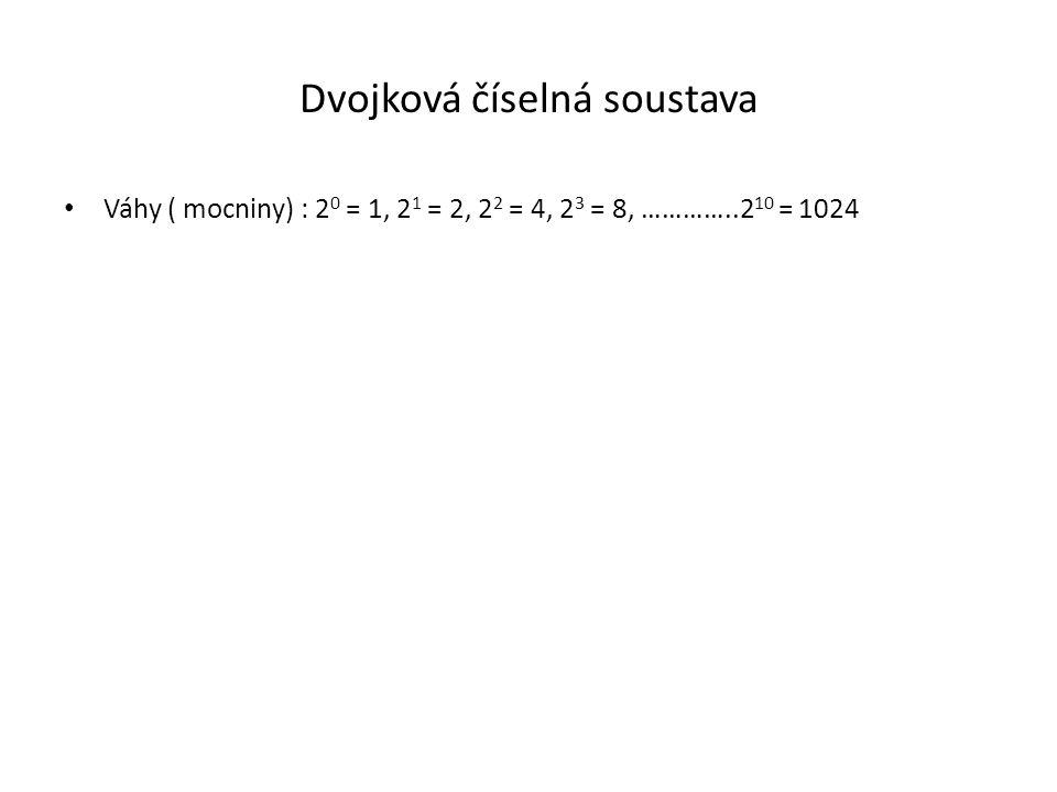 Dvojková číselná soustava Váhy ( mocniny) : 2 0 = 1, 2 1 = 2, 2 2 = 4, 2 3 = 8, …………..2 10 = 1024