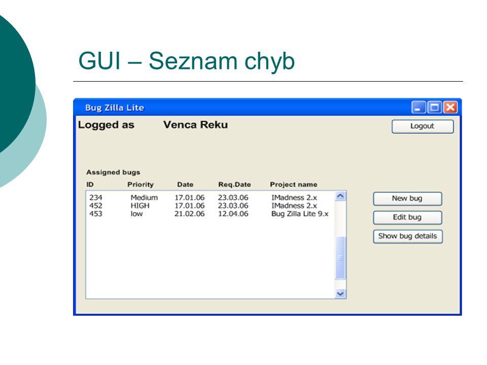 GUI – Seznam chyb