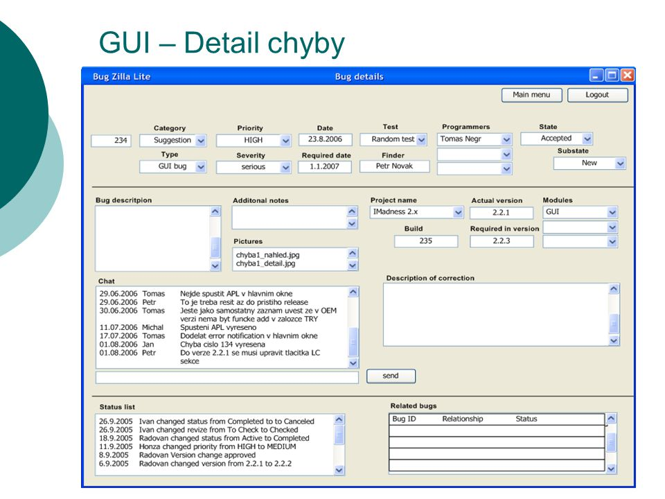 GUI – Detail chyby