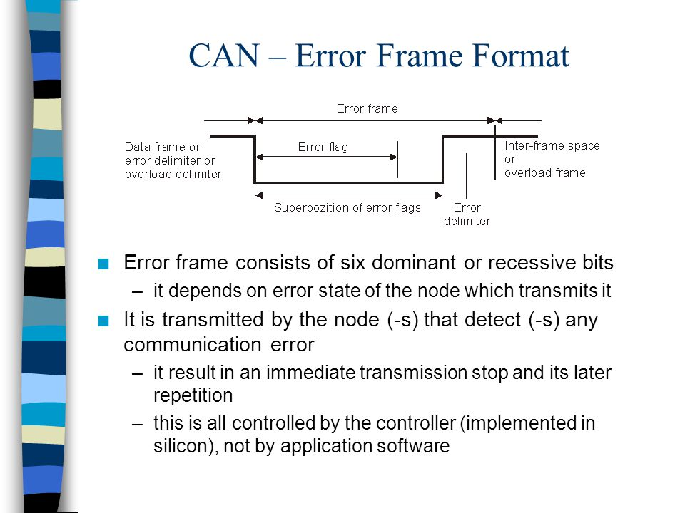 CAN – Error Frame Format n Error frame consists of six dominant or recessive bits –it depends on error state of the node which transmits it n It is tr