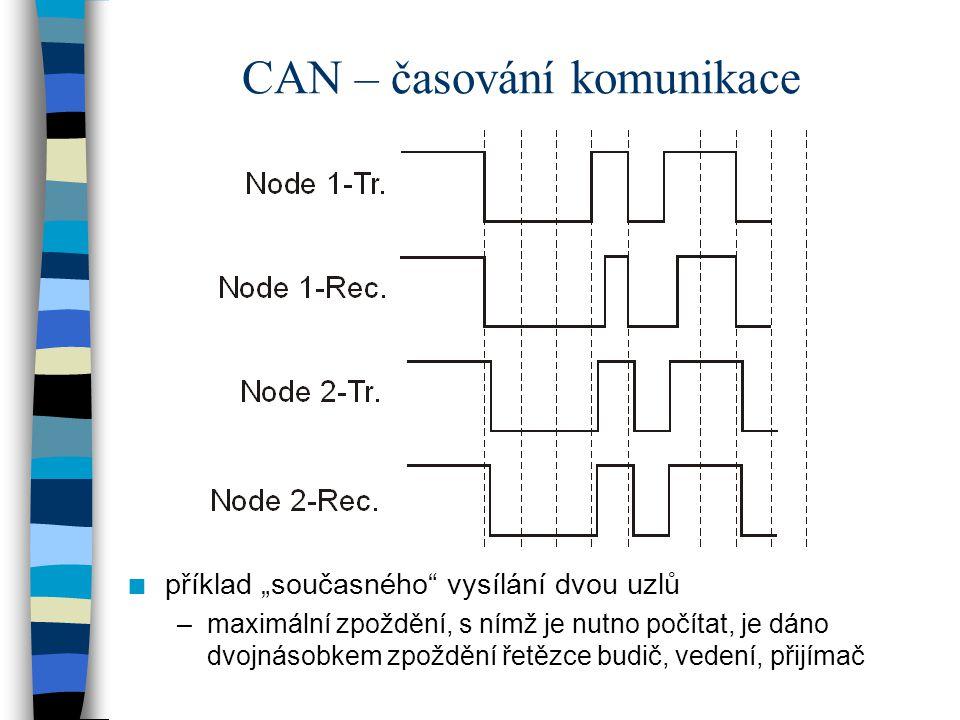 """CAN – časování komunikace n příklad """"současného"""" vysílání dvou uzlů –maximální zpoždění, s nímž je nutno počítat, je dáno dvojnásobkem zpoždění řetězc"""