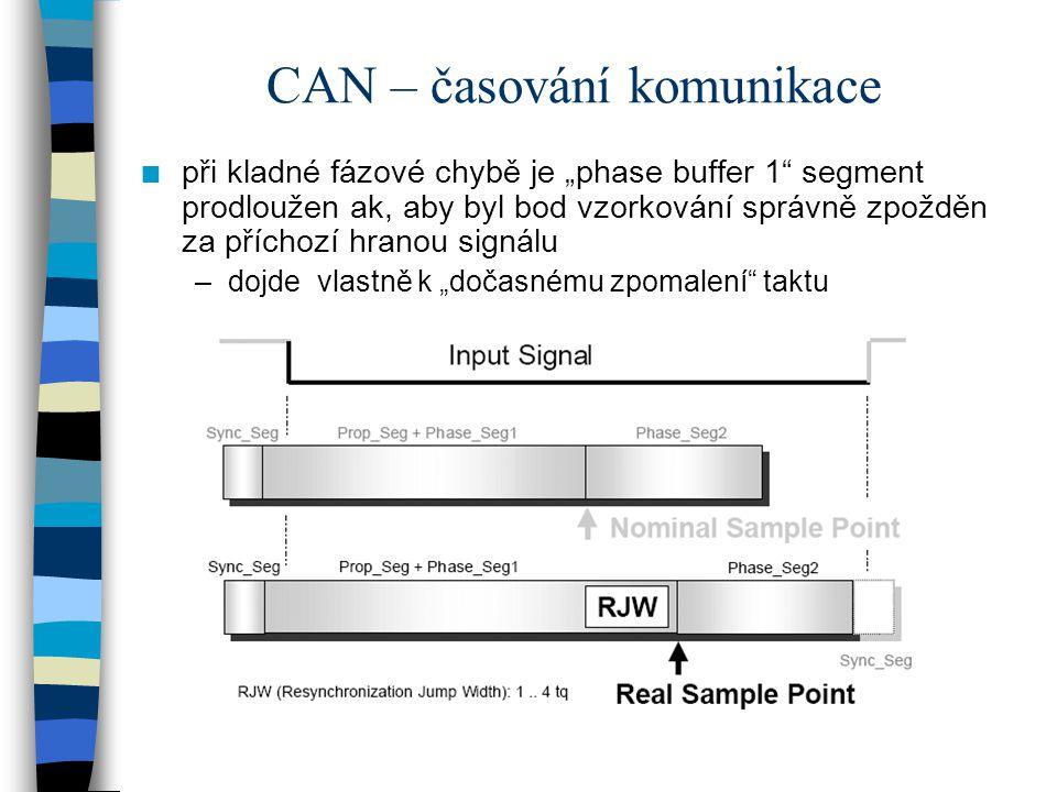 """CAN – časování komunikace n při kladné fázové chybě je """"phase buffer 1"""" segment prodloužen ak, aby byl bod vzorkování správně zpožděn za příchozí hran"""