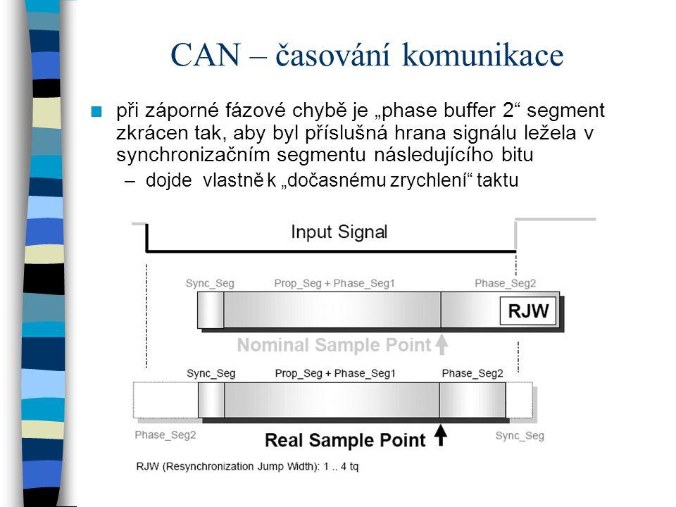 """CAN – časování komunikace n při záporné fázové chybě je """"phase buffer 2"""" segment zkrácen tak, aby byl příslušná hrana signálu ležela v synchronizačním"""