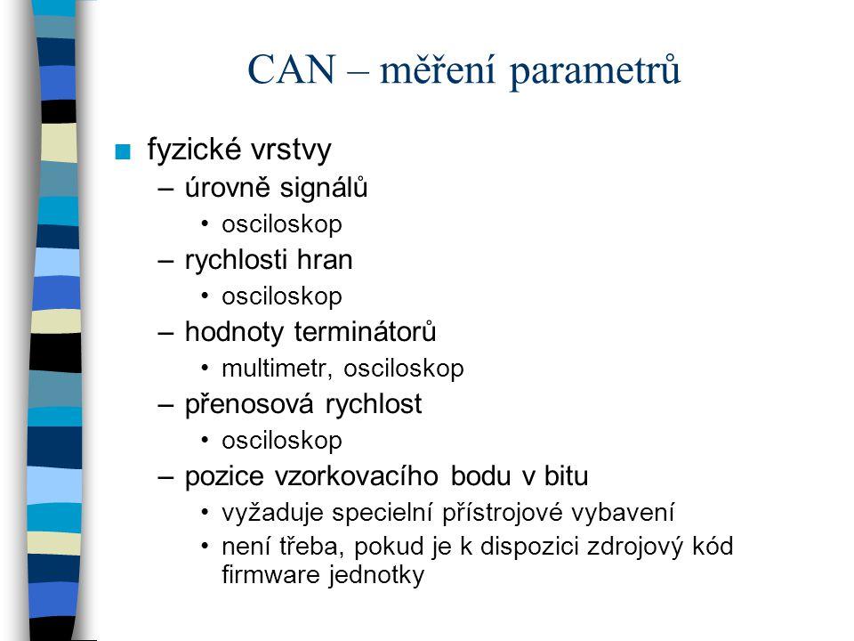 CAN – měření parametrů n fyzické vrstvy –úrovně signálů osciloskop –rychlosti hran osciloskop –hodnoty terminátorů multimetr, osciloskop –přenosová ry