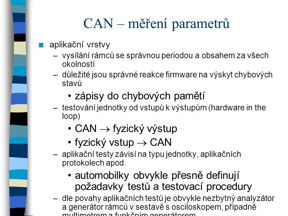 CAN – měření parametrů n aplikační vrstvy –vysílání rámců se správnou periodou a obsahem za všech okolností –důležité jsou správné reakce firmware na