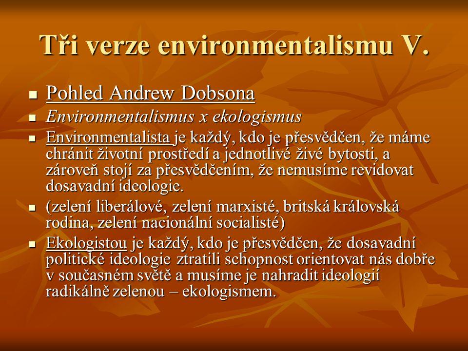 Tři verze environmentalismu V. Pohled Andrew Dobsona Pohled Andrew Dobsona Environmentalismus x ekologismus Environmentalismus x ekologismus Environme