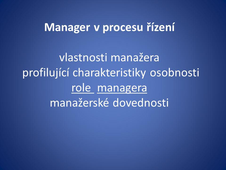 b) manažerské činnosti Manažer – profese a její nositel je zodpovědný za dosahování cílů, které mu organizační jednotka svěřila (v případě,že manažer není současně podnikatelem) včetně tvůrčí účasti na jejich tvorbě a zjištění.