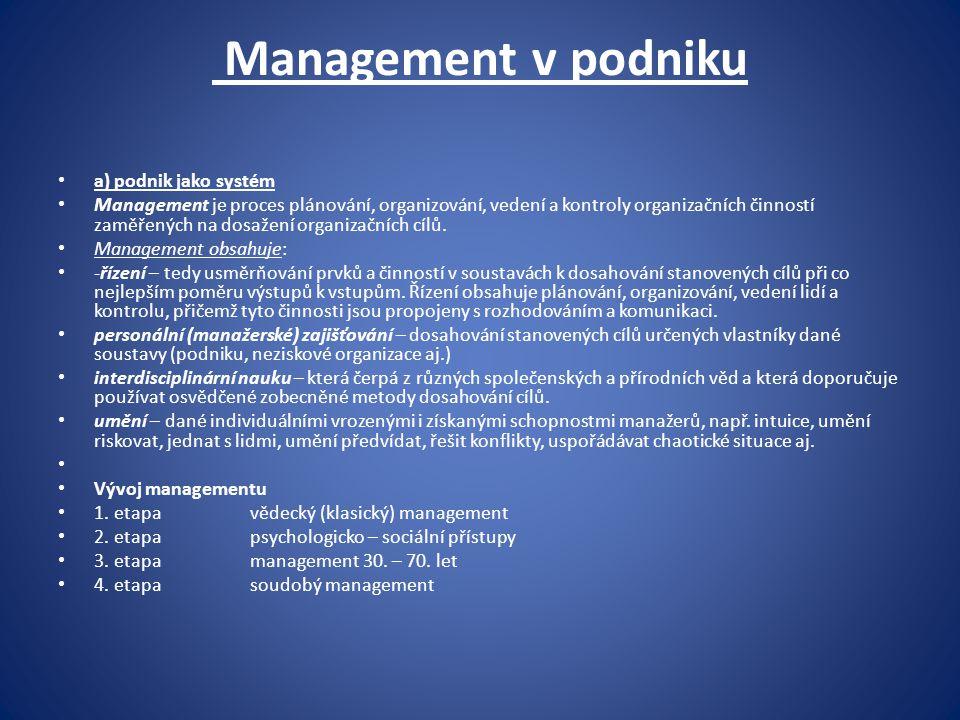 Management v podniku a) podnik jako systém Management je proces plánování, organizování, vedení a kontroly organizačních činností zaměřených na dosaže