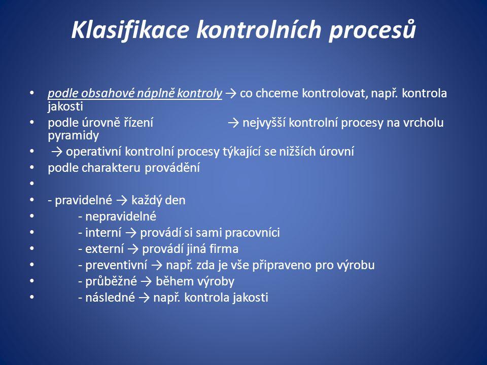 Klasifikace kontrolních procesů podle obsahové náplně kontroly → co chceme kontrolovat, např. kontrola jakosti podle úrovně řízení → nejvyšší kontroln