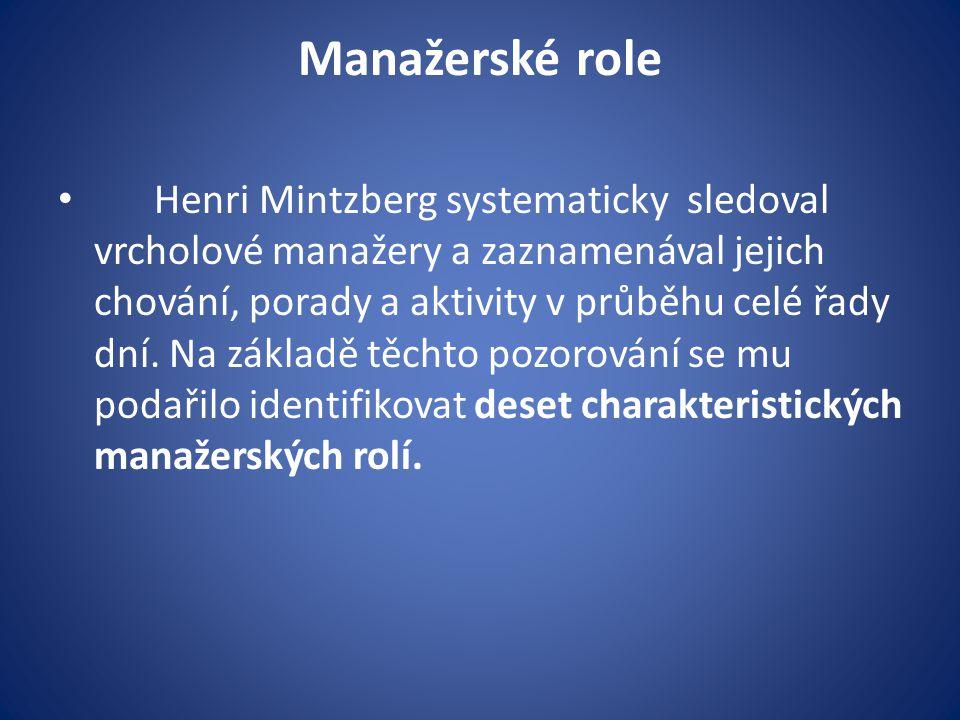 Manažerské role Henri Mintzberg systematicky sledoval vrcholové manažery a zaznamenával jejich chování, porady a aktivity v průběhu celé řady dní. Na