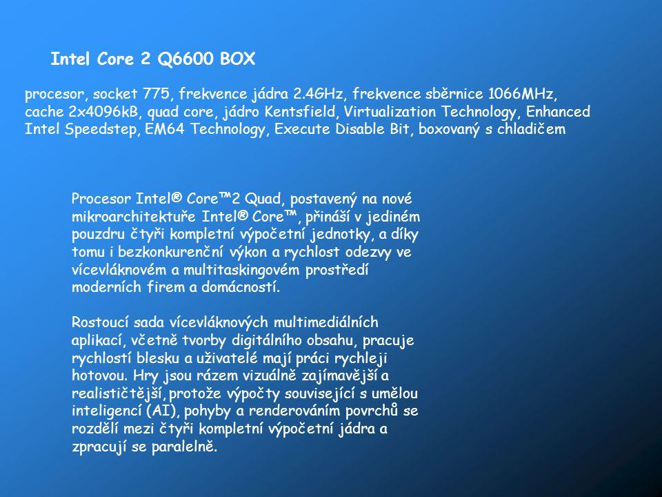 Intel Core 2 Q6600 BOX procesor, socket 775, frekvence jádra 2.4GHz, frekvence sběrnice 1066MHz, cache 2x4096kB, quad core, jádro Kentsfield, Virtuali