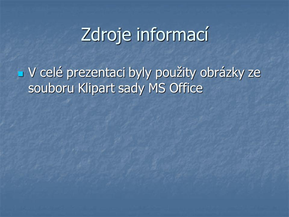 Zdroje informací V celé prezentaci byly použity obrázky ze souboru Klipart sady MS Office V celé prezentaci byly použity obrázky ze souboru Klipart sa