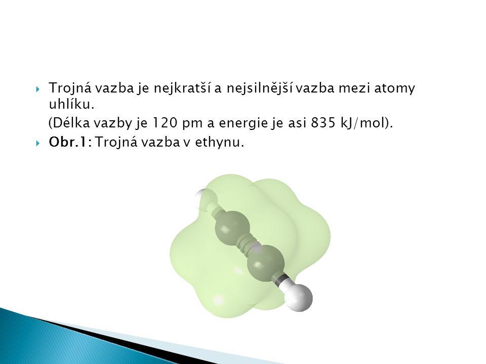  Trojná vazba je nejkratší a nejsilnější vazba mezi atomy uhlíku. (Délka vazby je 120 pm a energie je asi 835 kJ/mol).  Obr.1: Trojná vazba v ethynu