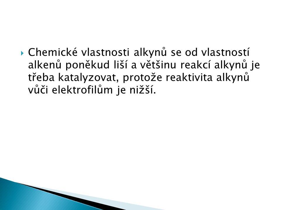  Chemické vlastnosti alkynů se od vlastností alkenů poněkud liší a většinu reakcí alkynů je třeba katalyzovat, protože reaktivita alkynů vůči elektrofilům je nižší.