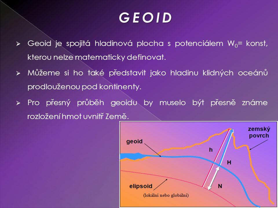  Geoid je spojitá hladinová plocha s potenciálem W 0 = konst, kterou nelze matematicky definovat.  Můžeme si ho také představit jako hladinu klidnýc