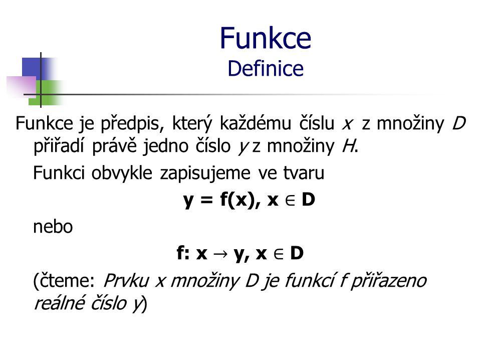 Funkce Definiční obor a obor hodnot funkce Definiční obor (značíme D(f)), je množina všech přípustných hodnot argumentu x, tedy všechny hodnoty, kterých může proměnná x nabývat.