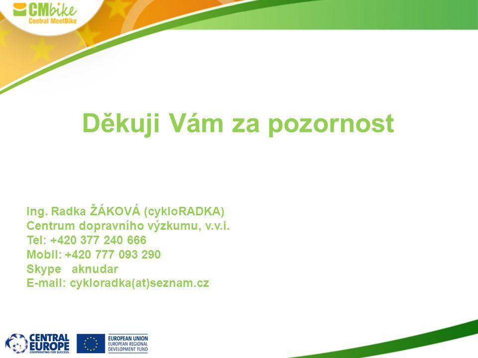 Děkuji Vám za pozornost Ing. Radka ŽÁKOVÁ (cykloRADKA) Centrum dopravního výzkumu, v.v.i.
