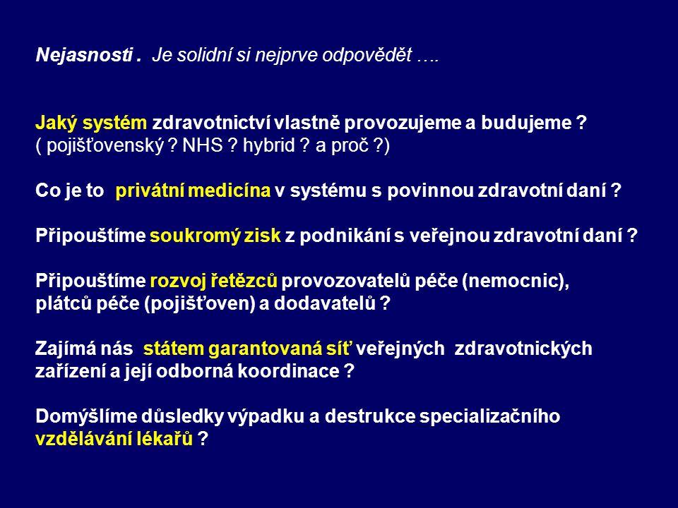 Nejasnosti. Je solidní si nejprve odpovědět …. Jaký systém zdravotnictví vlastně provozujeme a budujeme ? ( pojišťovenský ? NHS ? hybrid ? a proč ?) C