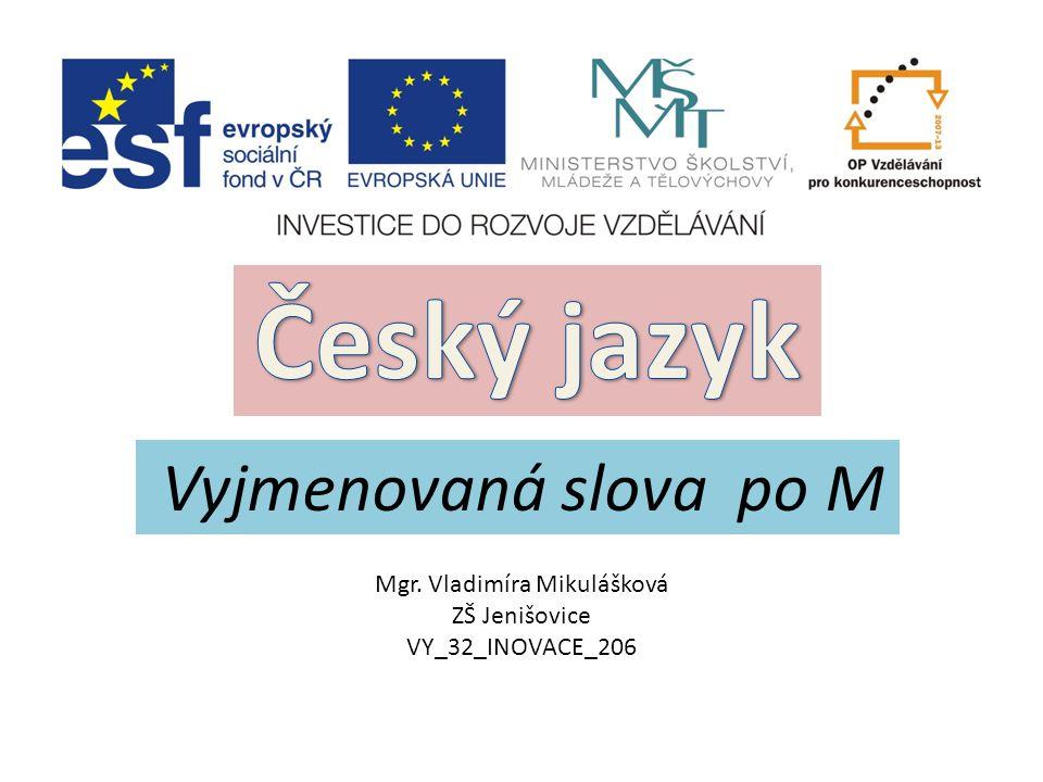 Vyjmenovaná slova po M Mgr. Vladimíra Mikulášková ZŠ Jenišovice VY_32_INOVACE_206