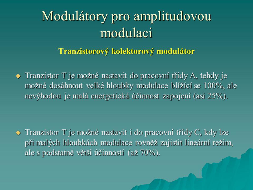 Modulátory pro amplitudovou modulaci Tranzistorový kolektorový modulátor  Tranzistor T je možné nastavit do pracovní třídy A, tehdy je možné dosáhnou