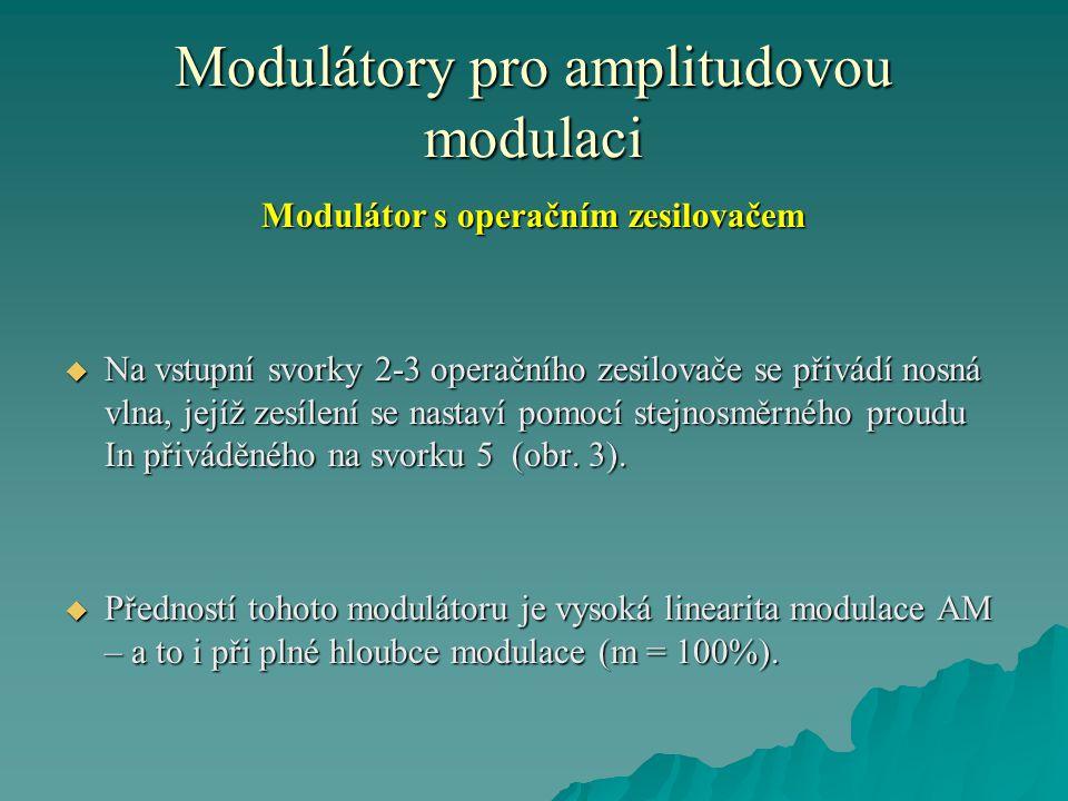 Modulátory pro amplitudovou modulaci Modulátor s operačním zesilovačem  Na vstupní svorky 2-3 operačního zesilovače se přivádí nosná vlna, jejíž zesí