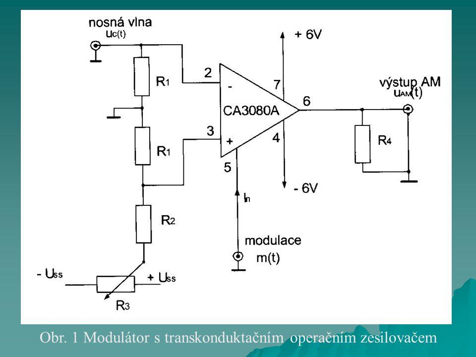 Obr. 1 Modulátor s transkonduktačním operačním zesilovačem