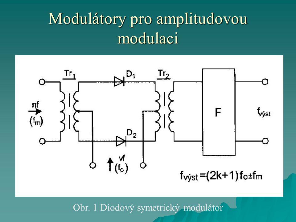 Modulátory pro amplitudovou modulaci Diodový kruhový modulátor  U tohoto modulátoru musí být opět přívody vysoké frekvence přesně ve středu transformátorů.