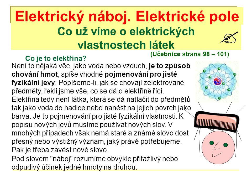Co už víme o elektrických vlastnostech látek (Učebnice strana 98 – 101) Elektrický náboj. Elektrické pole Není to nějaká věc, jako voda nebo vzduch, j