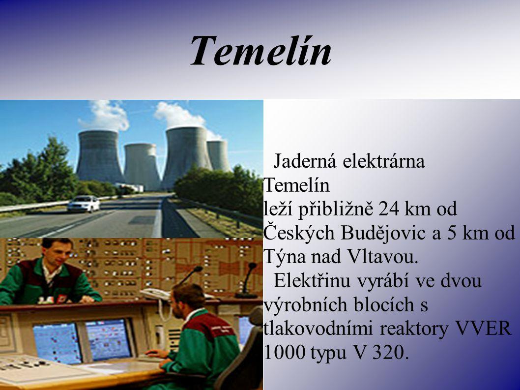Temelín Jaderná elektrárna Temelín leží přibližně 24 km od Českých Budějovic a 5 km od Týna nad Vltavou.