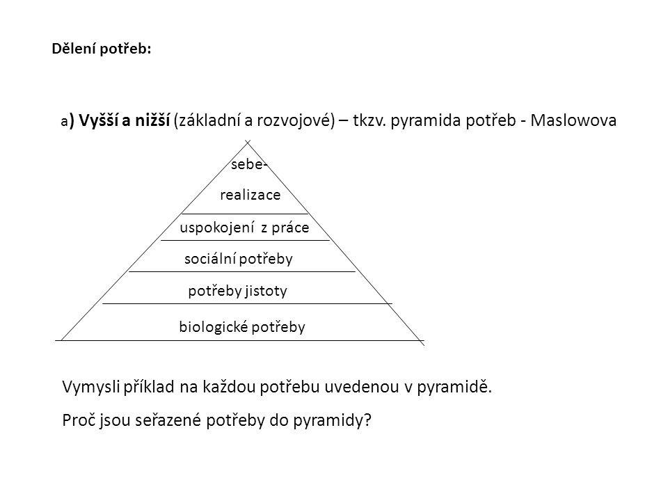 Dělení potřeb: a ) Vyšší a nižší (základní a rozvojové) – tkzv.