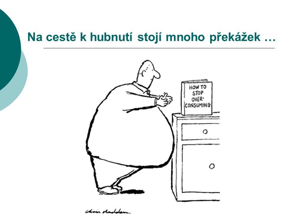 CÍLE VÝZKUMU  zmapovat předešlé zkušenosti s pokusy o redukci hmotnosti počet absolvovaných pokusů o hubnutí hodnocení spokojenosti s vyzkoušenými dietami  prozkoumat motivaci obézních žen a mužů k redukční léčbě na obezitologii intenzita motivace obsah motivace – důvody, proč chtějí obézní hubnout  přístup k současné redukční léčbě aktivita – pasivita důvěra v léčbu očekávaná redukce