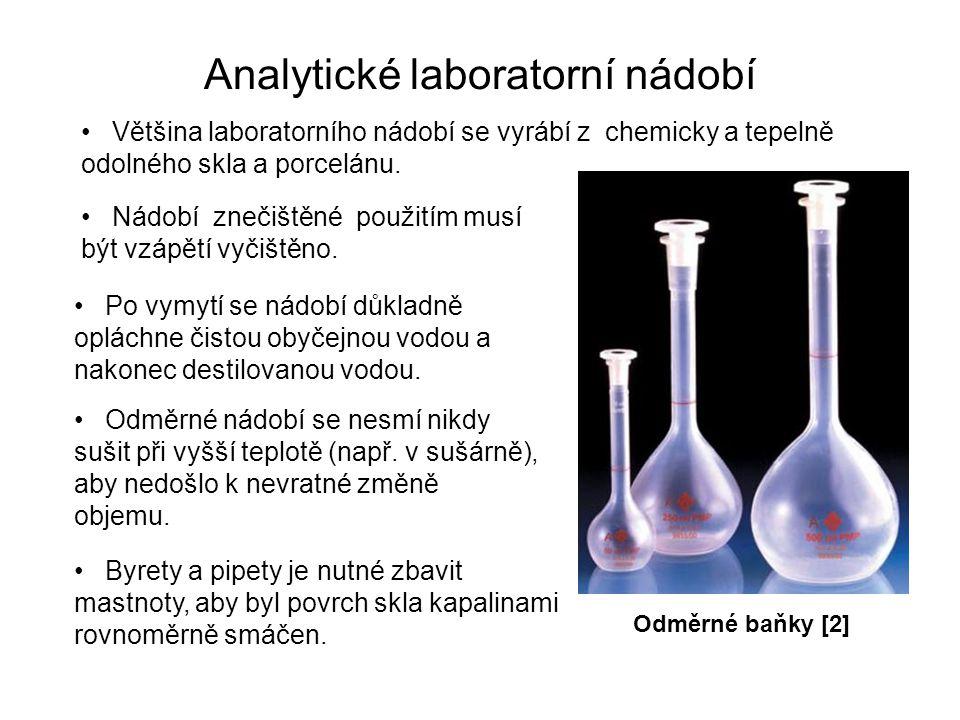 Analytické laboratorní nádobí Většina laboratorního nádobí se vyrábí z chemicky a tepelně odolného skla a porcelánu. Nádobí znečištěné použitím musí b