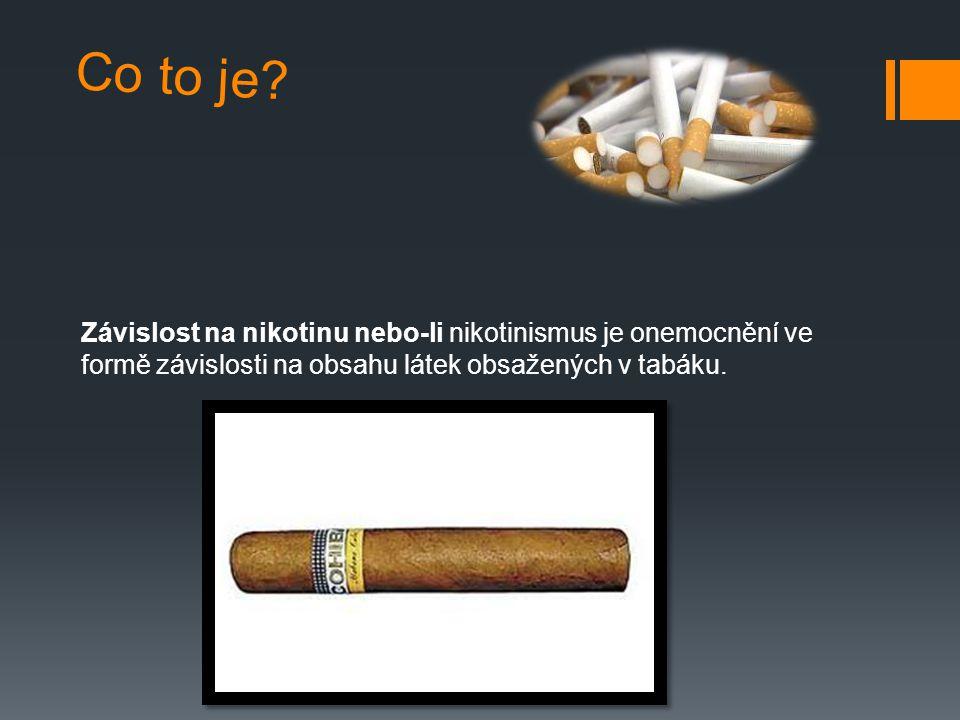 Co to je? Závislost na nikotinu nebo-li nikotinismus je onemocnění ve formě závislosti na obsahu látek obsažených v tabáku.