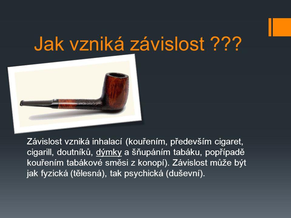 Jak vzniká závislost ??? Závislost vzniká inhalací (kouřením, především cigaret, cigarill, doutníků, dýmky a šňupáním tabáku, popřípadě kouřením tabák