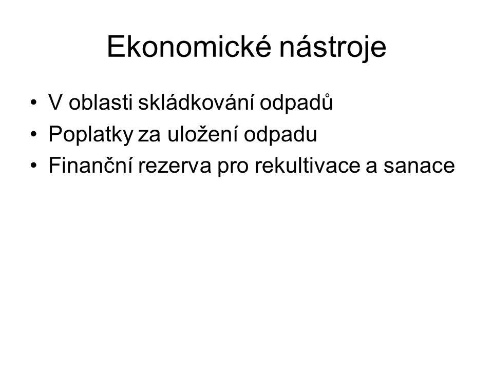 Ekonomické nástroje V oblasti skládkování odpadů Poplatky za uložení odpadu Finanční rezerva pro rekultivace a sanace