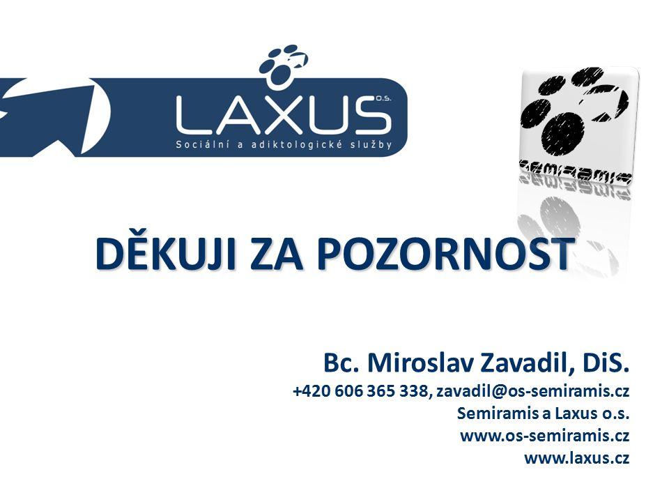 DĚKUJI ZA POZORNOST Bc. Miroslav Zavadil, DiS. +420 606 365 338, zavadil@os-semiramis.cz Semiramis a Laxus o.s. www.os-semiramis.cz www.laxus.cz