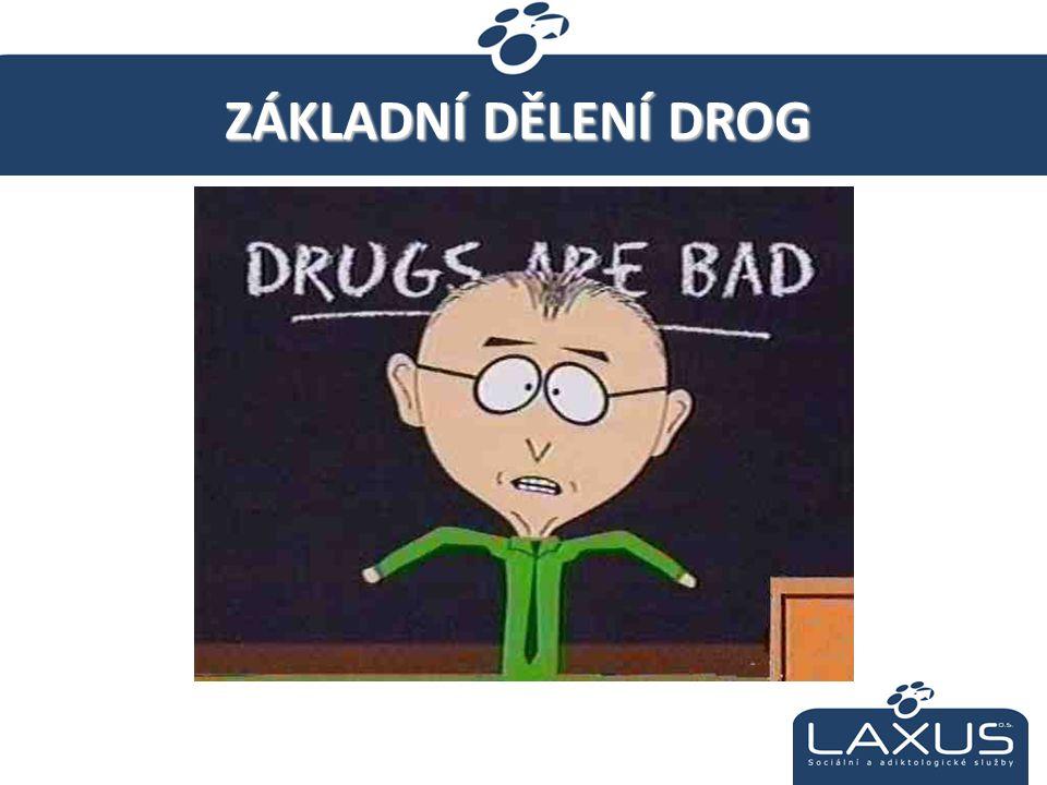 Legální x Nelegální Tvrdé x Měkké Podle účinku: »Alkohol, tabák »Konopné látky – Marihuana, Hašiš (THC) »Halucinogeny /Psychedelika/ - LSD, houby, jedovaté rostliny »Stimulační látky – Amfetamin, Pervitin, Kokain »Opiáty /tlumivé/ látky – Heroin, Opium, Morfin, Subutex »Těkavé látky – rozpouštědla, ředidla, lepidla »Léky, Steroidy apod.