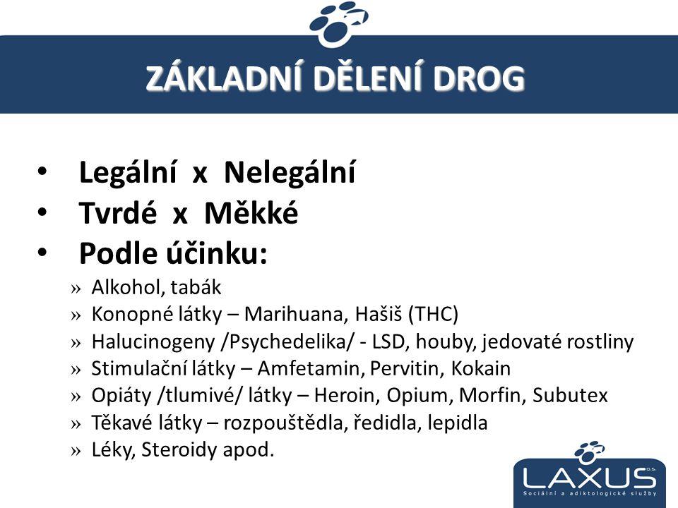 Legální x Nelegální Tvrdé x Měkké Podle účinku: »Alkohol, tabák »Konopné látky – Marihuana, Hašiš (THC) »Halucinogeny /Psychedelika/ - LSD, houby, jed