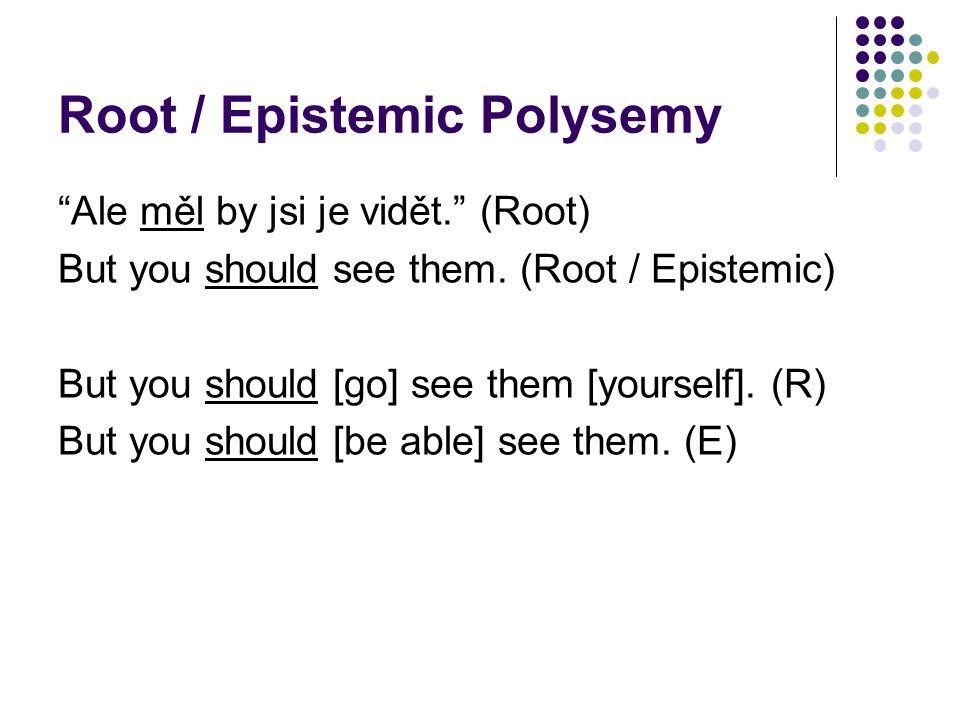 Root / Epistemic Polysemy Ale měl by jsi je vidět. (Root) But you should see them.