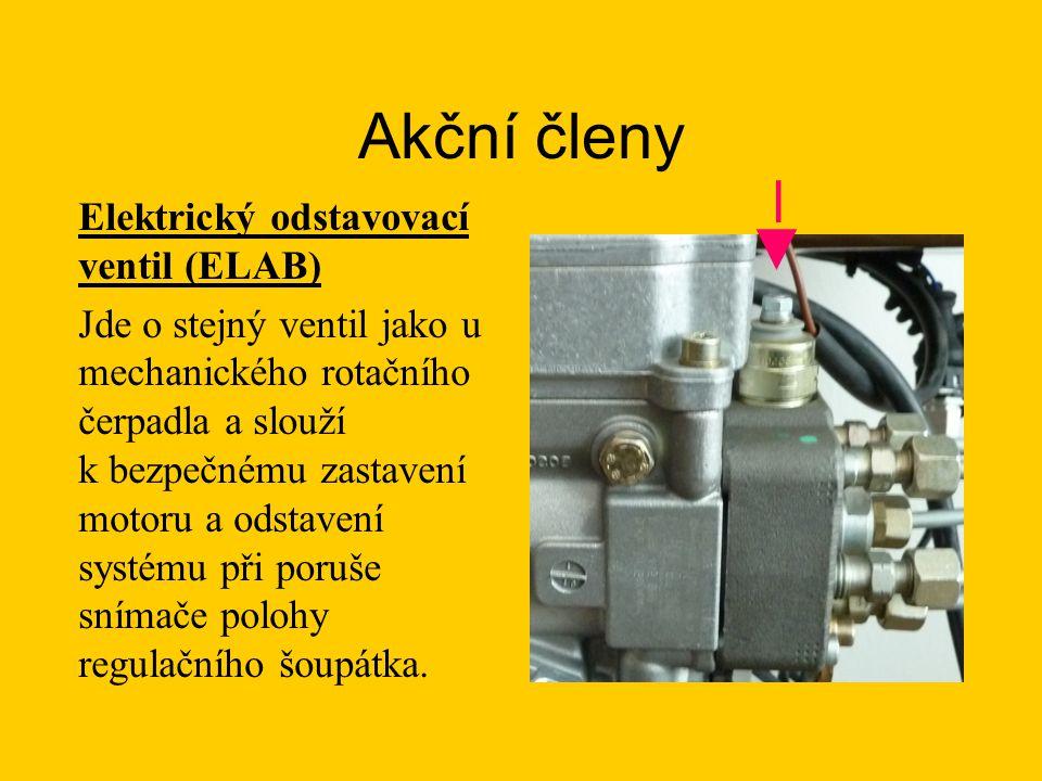 Akční členy Elektrický odstavovací ventil (ELAB) Jde o stejný ventil jako u mechanického rotačního čerpadla a slouží k bezpečnému zastavení motoru a odstavení systému při poruše snímače polohy regulačního šoupátka.