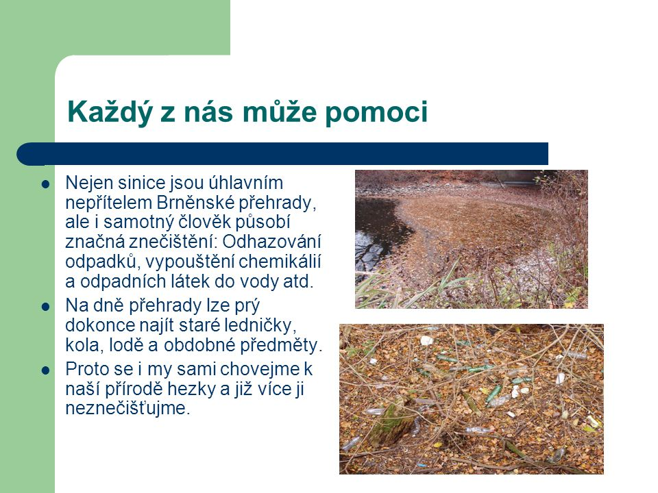 Každý z nás může pomoci Nejen sinice jsou úhlavním nepřítelem Brněnské přehrady, ale i samotný člověk působí značná znečištění: Odhazování odpadků, vy