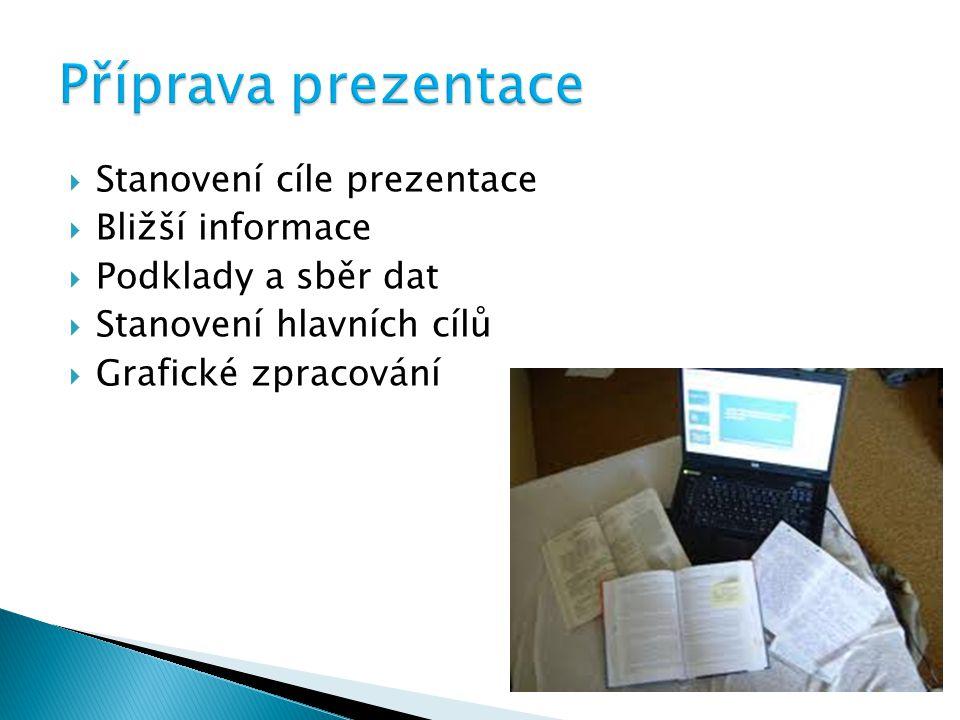  Stanovení cíle prezentace  Bližší informace  Podklady a sběr dat  Stanovení hlavních cílů  Grafické zpracování