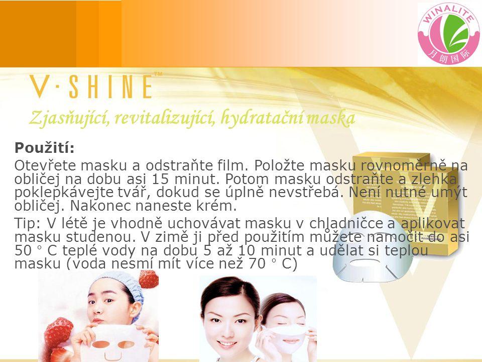 Použití: Otevřete masku a odstraňte film. Položte masku rovnoměrně na obličej na dobu asi 15 minut.